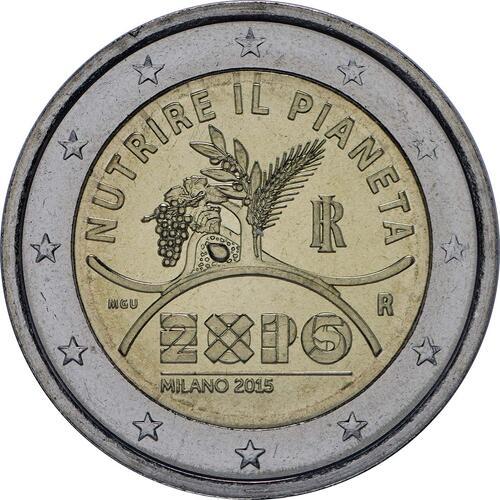 Rückseite:Italien : 2 Euro Expo Mailand  2015 bfr