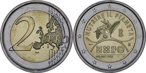 Lieferumfang:Italien : 2 Euro Expo Mailand  2015 bfr