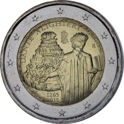 Rückseite:Italien : 2 Euro Dante Alighieri  2015 bfr