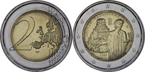 Lieferumfang :Italien : 2 Euro Dante Alighieri  2015 bfr