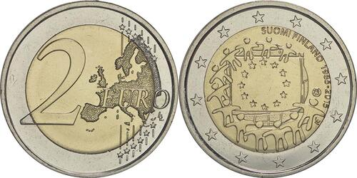 Lieferumfang :Finnland : 2 Euro 30 Jahre Europäische Flagge  2015 bfr