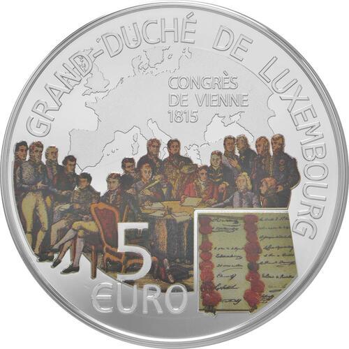 Vorderseite:Luxemburg : 5 Euro Wiener Kongress  2015 PP