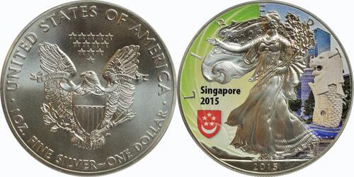 "Lieferumfang:USA : 1 Dollar 2015 Silber Eagle - Singapur - ""Löwe""  2015 Stgl."