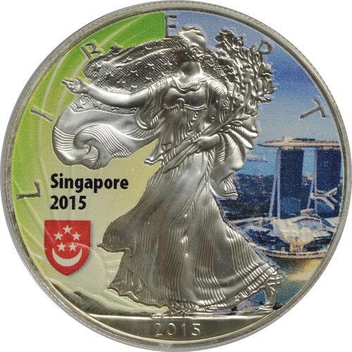 "Vorderseite :USA : 1 Dollar Silber Eagle - Singapur - ""Marina""  2015 Stgl."