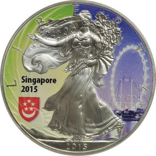 "Vorderseite:USA : 1 Dollar Silber Eagle - Singapur - ""Riesenrad""  2015 Stgl."