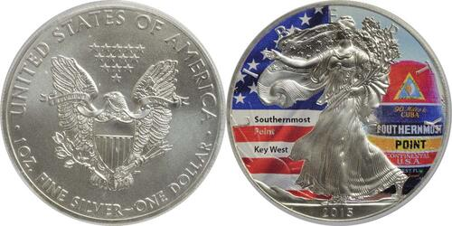 "Lieferumfang:USA : 1 Dollar Silber Eagle ""Southernmost Point""  2015 Stgl."