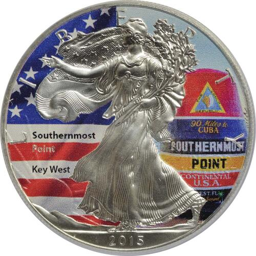 "Vorderseite:USA : 1 Dollar Silber Eagle ""Southernmost Point""  2015 Stgl."