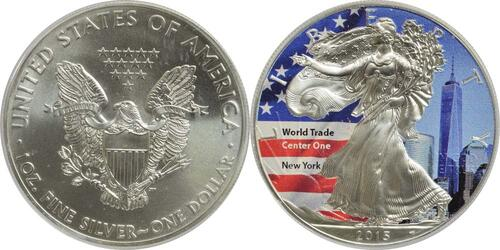 "Lieferumfang :USA : 1 Dollar Silber Eagle ""World Trade Center One""  2015 Stgl."
