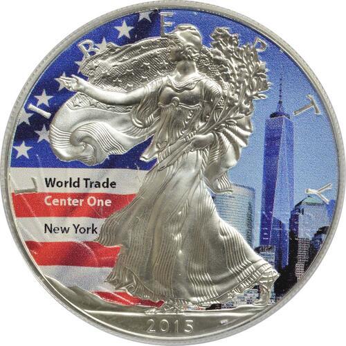 "Vorderseite:USA : 1 Dollar Silber Eagle ""World Trade Center One""  2015 Stgl."