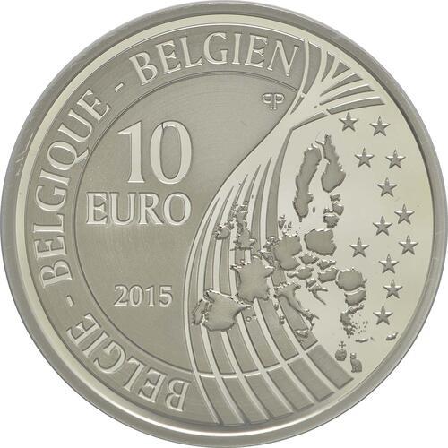 Rückseite:Belgien : 10 Euro 70 Jahre Frieden in Europa  2015 PP