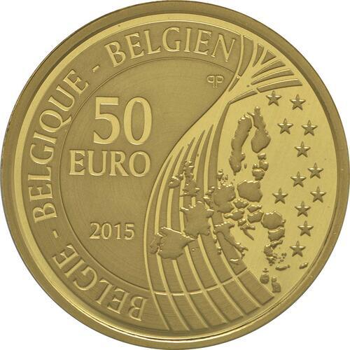 Rückseite:Belgien : 50 Euro 70 Jahre Frieden in Europa  2015 PP