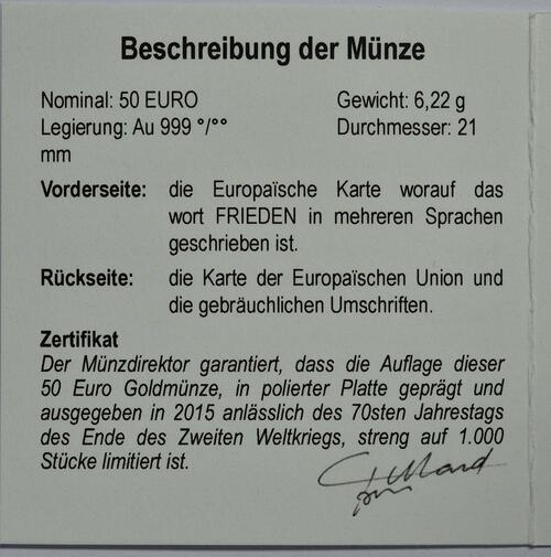 Zertifikat:Belgien : 50 Euro 70 Jahre Frieden in Europa  2015 PP