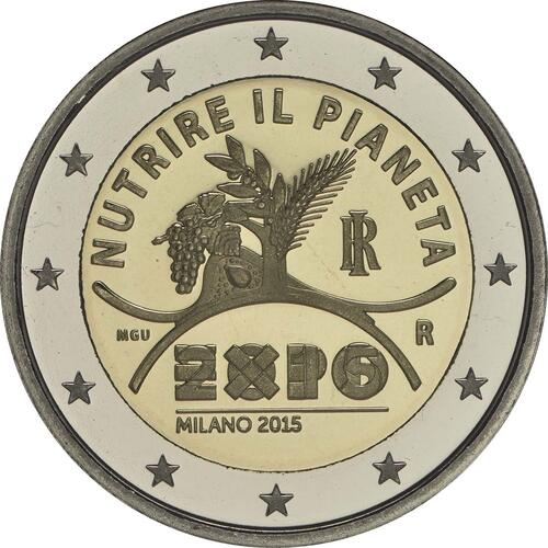 Rückseite :Italien : 2 Euro Expo Mailand  2015 PP
