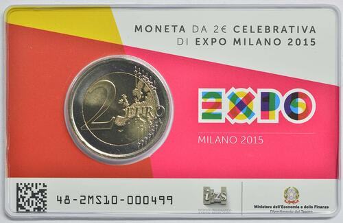 Lieferumfang :Italien : 2 Euro Expo Mailand  2015 Stgl.