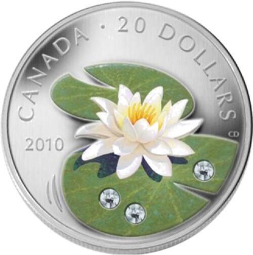 Lieferumfang :Kanada : 20 Dollar Wasserlilie m. Swarowskikristall  2010 PP