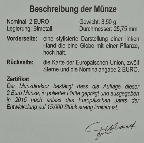 Zertifikat:Belgien : 2 Euro Europäisches Jahr für Entwicklung  2015 PP