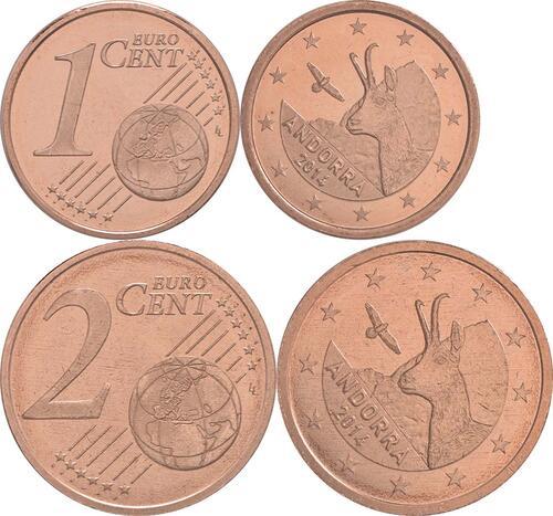 Lieferumfang:Andorra : 3 Cent 1 + 2 Cent Andorra  2014 bfr 1 Cent Andorra 2014, 2 Cent Andorra 2014