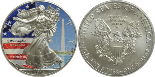 "Lieferumfang :USA : 1 Dollar Silber Eagle ""Washington-Monument""  2015 Stgl."