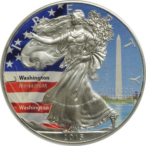 "Vorderseite :USA : 1 Dollar Silber Eagle ""Washington-Monument""  2015 Stgl."