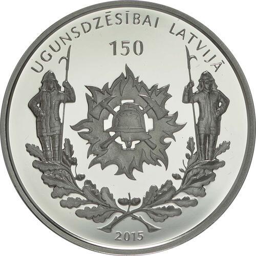Rückseite:Lettland : 5 Euro 150 Jahre Feuerwehr  2015 PP