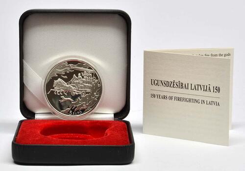 Lieferumfang:Lettland : 5 Euro 150 Jahre Feuerwehr  2015 PP