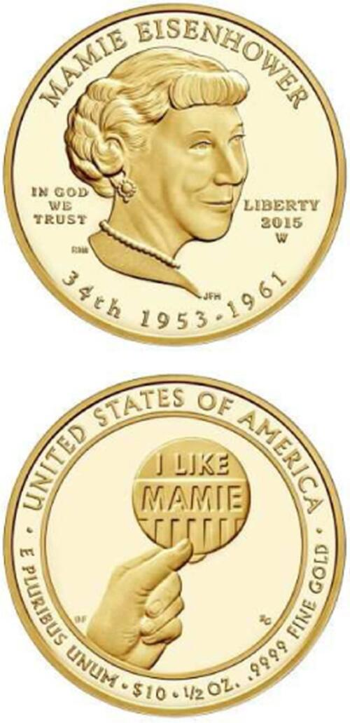 Lieferumfang:USA : 10 Dollar Mamie Eisenhower  2015 Stgl.