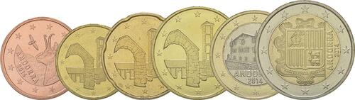 Lieferumfang:Andorra : 3,85 Euro Satz aus 5,10,20,50 Cent + 1 und 2 Euro  2014 bfr