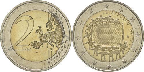 Lieferumfang :Luxemburg : 2 Euro 30 Jahre Europäische Flagge  2015 bfr