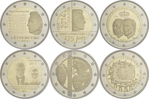 Rückseite:Luxemburg : 12 Euro Sondersatz 6 x 2 Euro Gedenkmünzen von 2013-2015  2015 PP