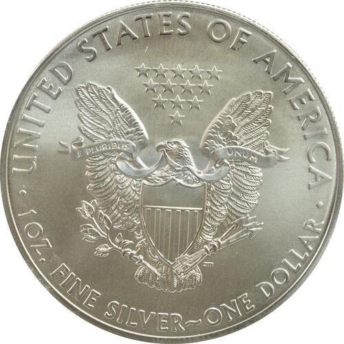 Rückseite:USA : 1 Dollar Silber Eagle - Berliner Luftbrücke/Denkmal  2015 Stgl.