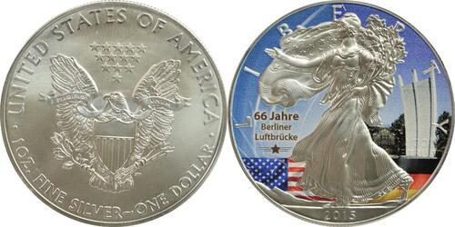 Lieferumfang:USA : 1 Dollar Silber Eagle - Berliner Luftbrücke/Denkmal  2015 Stgl.