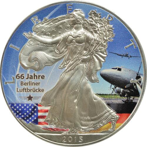 Vorderseite :USA : 1 Dollar Silber Eagle - Berliner Luftbrücke/Rosinenbomber  2015 Stgl.