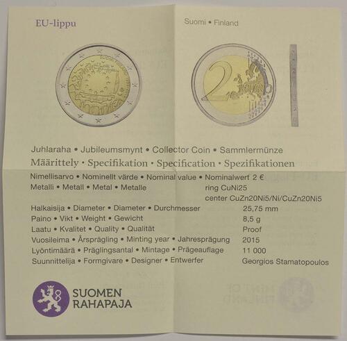 Zertifikat:Finnland : 2 Euro 30 Jahre Europäische Flagge  2015 PP