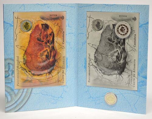 Lieferumfang :Spanien : 2 Euro Altamira + 3 Euro Silberbriefmarke Altamira + 3 Euro Briefmarke  2015 Stgl.