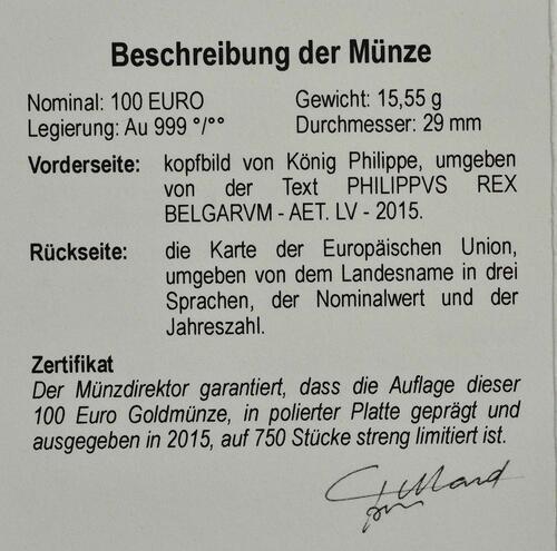Zertifikat:Belgien : 100 Euro König Philip  2015 PP