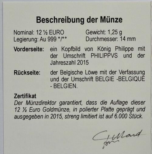 Zertifikat:Belgien : 12,5 Euro König Philip  2015 PP