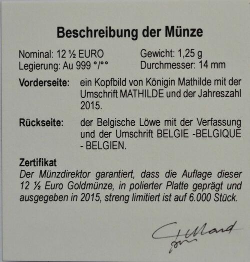 Zertifikat:Belgien : 12,5 Euro Königin Mathilde  2015 PP