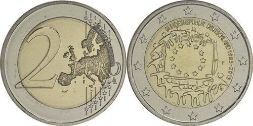 Lieferumfang :Deutschland : 2 Euro 30 Jahre Europäische Flagge  2015 bfr