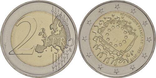 Lieferumfang :Frankreich : 2 Euro 30 Jahre Europäische Flagge  2015 bfr