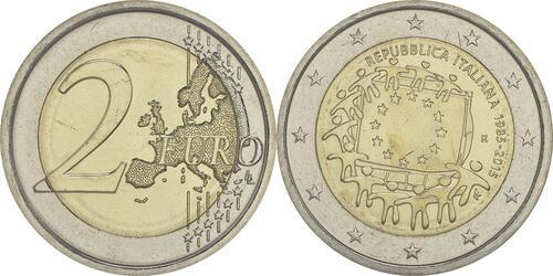 Lieferumfang :Italien : 2 Euro 30 Jahre Europäische Flagge  2015 bfr