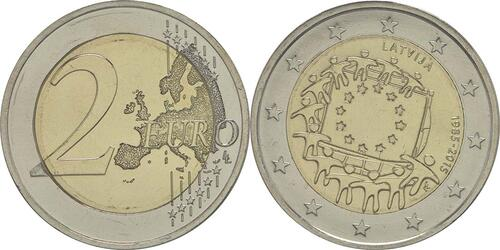 Lieferumfang:Lettland : 2 Euro 30 Jahre Europäische Flagge  2015 bfr