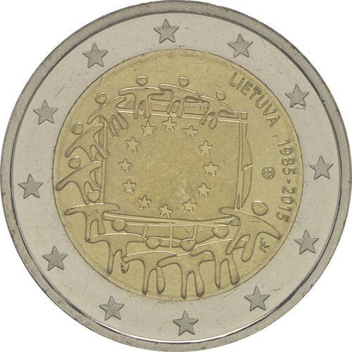 Rückseite :Litauen : 2 Euro 30 Jahre Europäische Flagge  2015 bfr