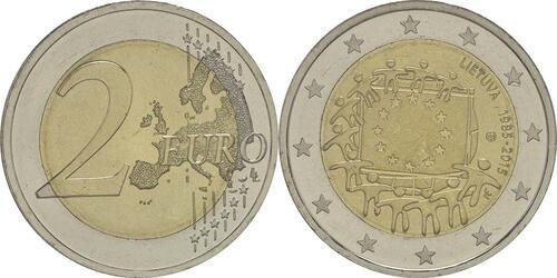 Lieferumfang :Litauen : 2 Euro 30 Jahre Europäische Flagge  2015 bfr