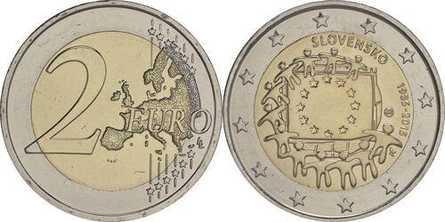 Lieferumfang:Slowakei : 2 Euro 30 Jahre Europäische Flagge  2015 bfr