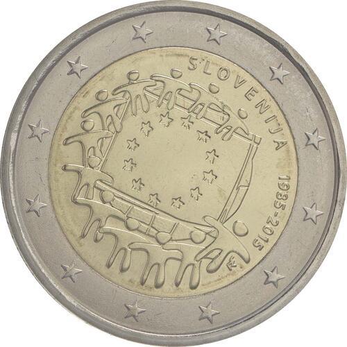 Rückseite :Slowenien : 2 Euro 30 Jahre Europäische Flagge  2015 bfr