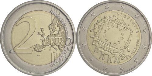 Lieferumfang :Slowenien : 2 Euro 30 Jahre Europäische Flagge  2015 bfr