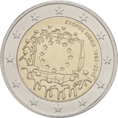 Rückseite :Zypern : 2 Euro 30 Jahre Europäische Flagge  2015 bfr