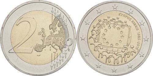 Lieferumfang :Zypern : 2 Euro 30 Jahre Europäische Flagge  2015 bfr