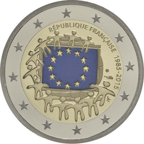 Rückseite :Frankreich : 2 Euro 30 Jahre Europäische Flagge / coloriert  2015 PP