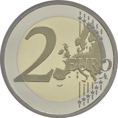Vorderseite:Frankreich : 2 Euro 30 Jahre Europäische Flagge / coloriert  2015 PP